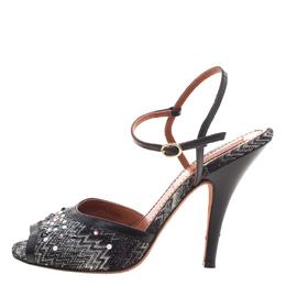 Missoni Black Embellished Patterned Knit Ankle Strap Sandals Size 38.5 99046