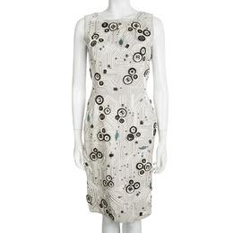 Oscar De La Renta Grey Embellished Sleeveless Fitted Dress S 97932