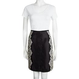 Tory Burch Black Satin Contrast Lace Print Skirt S 97378