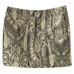 Alice + Olivia Metallic Lurex Paisley Pattern Yolanda Mini Skirt XS 113605