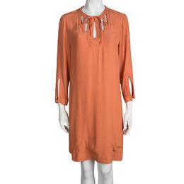 Diane Von Furstenberg Orange Long Sleeve Kea Dress L 95414