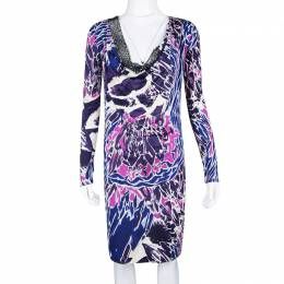 Emilio Pucci Multicolor Printed Silk Jersey Embellished Neck Detail Dress M 110395