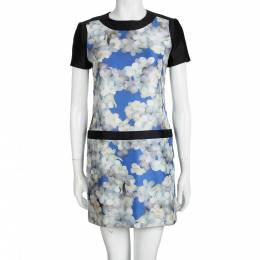 Victoria, Victoria Beckham Multicolor Floral Printed Silk Short Sleeve Dress S