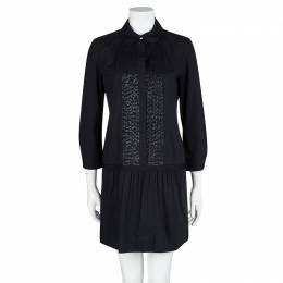Diane Von Furstenberg Amy Lu Black Sequin Pintuck Detail Long Sleeve Dress M 103698