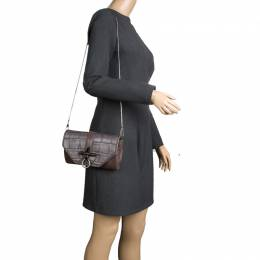 Givenchy Grey/Beige Croc and Lizard Embossed Leather Obsedia Shoulder Bag 96350