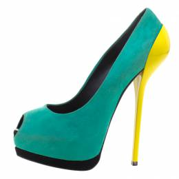 Giuseppe Zanotti Design Two Tone Suede Peep Toe Platform Pumps Size 38 100965