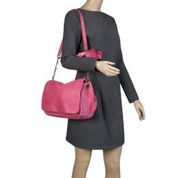 Lanvin Pink Leather and Fabric Shoulder Bag 105074