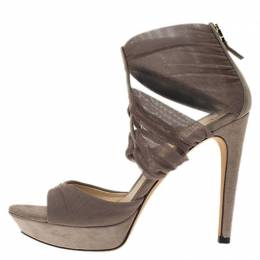 Fendi Beige Suede and Fabric Ankle Wrap Platform Sandals Size 37.5