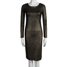 Alice + Olivia Textured Gold Knit Sheer Back Detail Long Sleeve Dress M 93238
