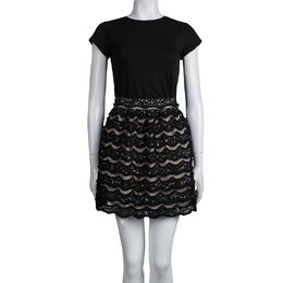 Alice + Olivia Black Sequin Embellished Lace Overlay Skirt S 78924
