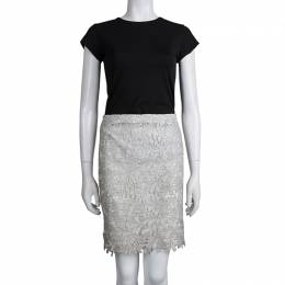 Alice + Olivia Silver Lace Overlay Skirt S 78920