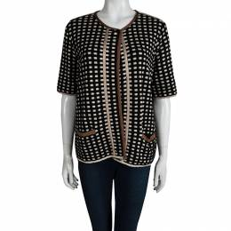 M Missoni Multicolor Checked Contrast Trim Short Sleeve Open Front Cardigan XL 93107