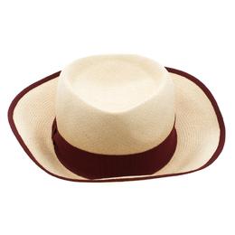 Hermes Beige Basket Weave Maroon Ribbon Detail Panama Hat Size 58 92970