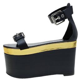Giuseppe Zanotti Design Black Leather Ankle Strap Platform Sandals Size 36 76329