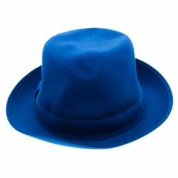 Hermes Blue Cotton H Embroidered Funky Fedora Hat ( Size 58 ) 92943