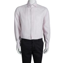 Ermenegildo Zegna Pink Cotton Striped Long Sleeve Button Front Shirt XXL 94505