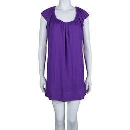 Just Cavalli Purple Knit Ruffle Sleeve Detail Dress L 66652