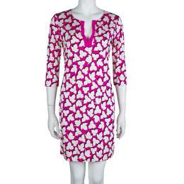 Diane Von Furstenberg Pink Printed Jersey Reina Dress M 63491