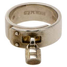 Hermes Vintage H Padlock Silver Band Ring Size 49 79678