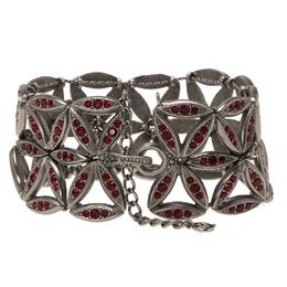 Dior Red Crystals Silver Tone Wide Bracelet 20cm 82630