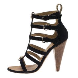 Giuseppe Zanotti Design Black Suede Strappy Gladiator Sandals Size 36 39271