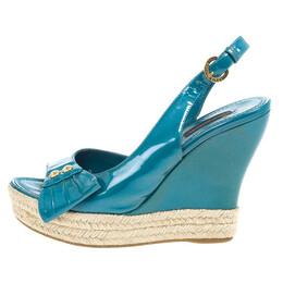 Louis Vuitton Blue Patent Espadrilles Slingback Wedges Size 37.5 20549