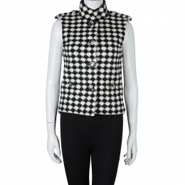 Chanel Monochrome Diamond Checked Wool Vest S 59737