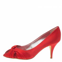 Giuseppe Zanotti Design Red Satin Criss Cross Peep Toe Pumps Size 38.5 56708