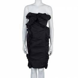 Giambattista Valli Black Ruffle Dress XXS 57497