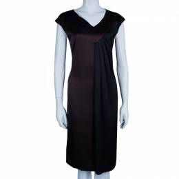 Max Mara Brown/Black Silk Sleeveless Dress M/L 45801