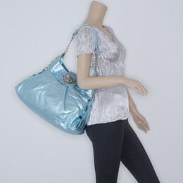 Sonia Rykiel Metallic Light Blue 'Bella' Shoulder Bag 36682