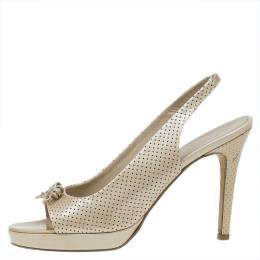 Chanel Beige Perforated Leather Butterfly Embellished Slingback Sandals Size 38.5 47565