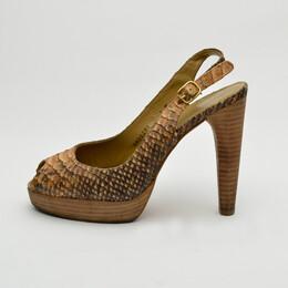 Stuart Weitzman Python Embossed Peep Toe Slingback Sandals Size 39 30466