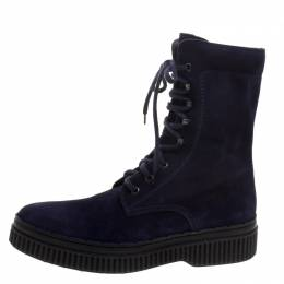 Tod's Navy Blue Suede Lace Up Ankle Boots Size 41 115310