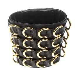 Giuseppe Zanotti Design Brown Leather Gold Tone Extra Wide Cuff Bracelet 159017