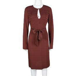 Diane Von Furstenberg Brick Red Silk Pintuck Detail Long Sleeve Belted Kimian Dress L 116955