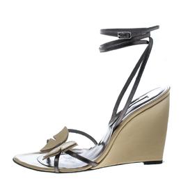 Sergio Rossi Beige/Metallic Grey Leather Strappy Wedge Sandals Size 38 159891