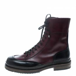 Salvatore Ferragamo Burgundy Leather Mallorca Platform Ankle Boots Size 41.5