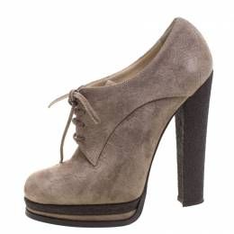Casadei Brown Suede Lace Up Derby Platform Ankle Boots Size 36 103997