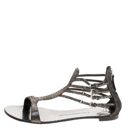 Giuseppe Zanotti Design Metallic Suede Strappy Flat Sandals Size 40 112975