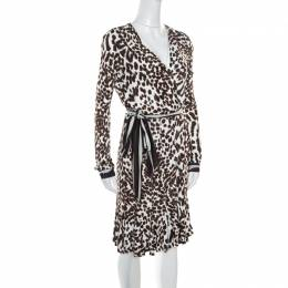 Roberto Cavalli Class White Leopard Printed Knit Long Sleeve Wrap Dress M 161460