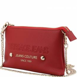 Versace Jeans Red Faux Pebbled Leather Chain Pochette Accessories 161897
