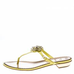 Dior Lemon Yellow Patent Leather Floral Detail Thong Sandals Size 38 161807
