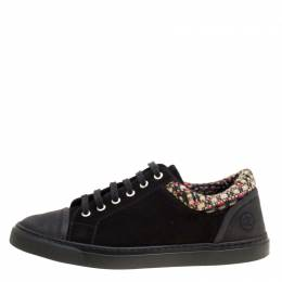 Chanel Black/Multicolor Leather and Tweed Sneakers Size 40.5 163534