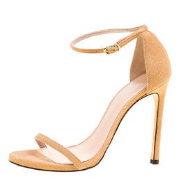 Stuart Weitzman Beige Suede Ankle Strap Open Toe Sandals Size 38.5 165857