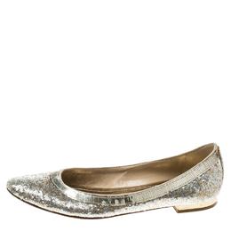 Rene Caovilla Gold/Silver Glitter Ballet Flats Size 38.5 166554