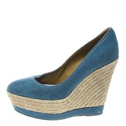 Sergio Rossi Blue Canvas Platform Espadrille Wedge Sandals Size 36 166461