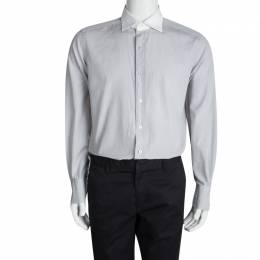Tom Ford Grey Cotton Contrast Collar Long Sleeve Button Front Shirt XXL 94525