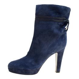Sergio Rossi Dark Blue Suede Platform Boots Size 41 166457