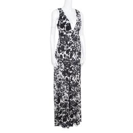 Diane Von Furstenberg Monochrome Floral Printed Jersey Cover Up Kandace Maxi Dress L 166405